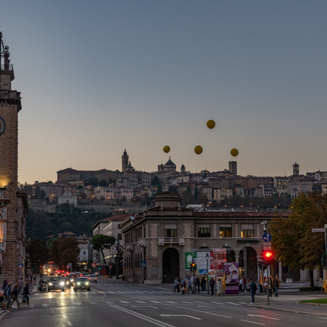 """""""Landscape of Bergamo in the early hours of the evening"""" stock image"""