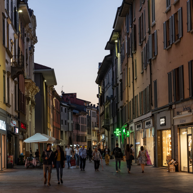 """""""Bergamo street in the early hours of the evening"""" stock image"""