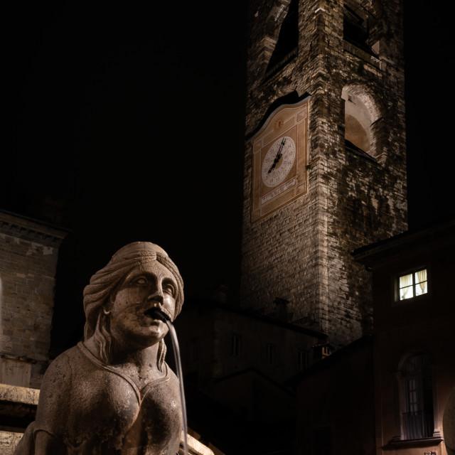 """""""The fountain in Piazza Vecchia, the Sphinx of the Contarini foun"""" stock image"""