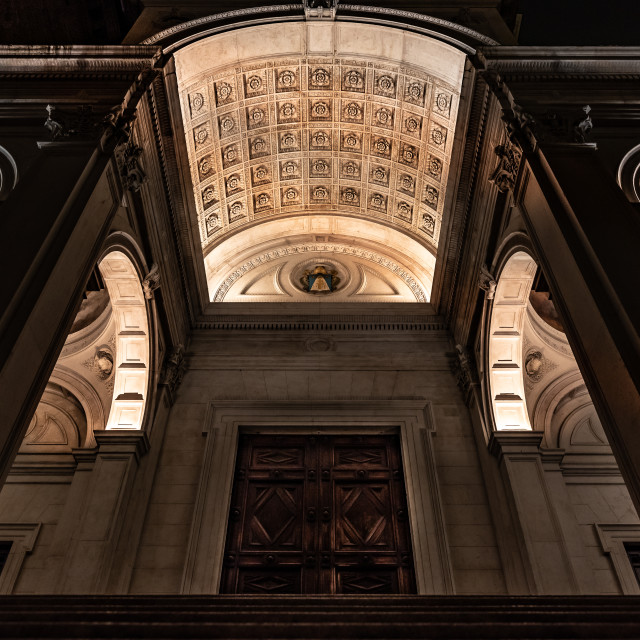 """""""View from below of the main entrance of the Cathedral of Sant'Al"""" stock image"""