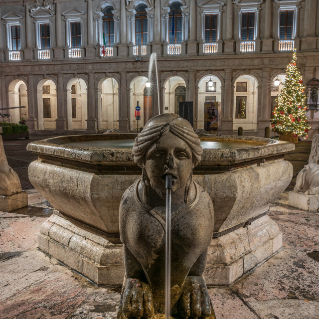 """""""The Sphinx of the Contarini fountain in the foreground in front"""" stock image"""