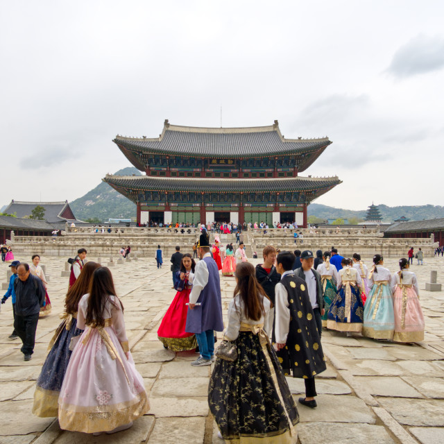 """""""Ladies wearing Hanbok's in Gyeongbokgung Palace"""" stock image"""