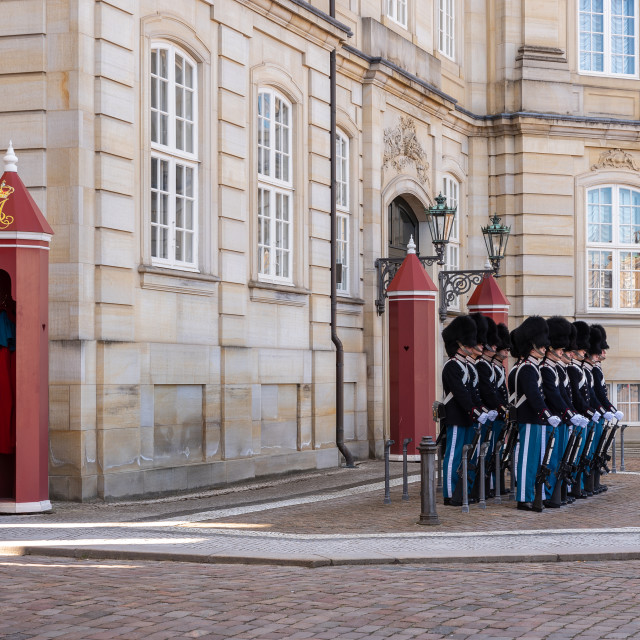 """""""Changing the guard in Copenaghen"""" stock image"""