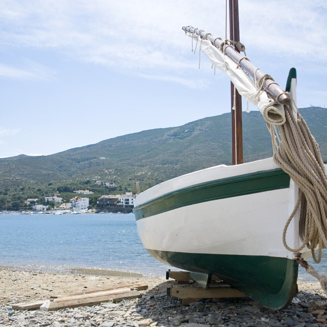 """Beached Boat in Cadaques"" stock image"