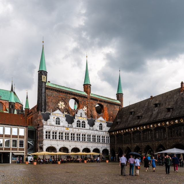 """Market Square in historic centre of Lubeck"" stock image"