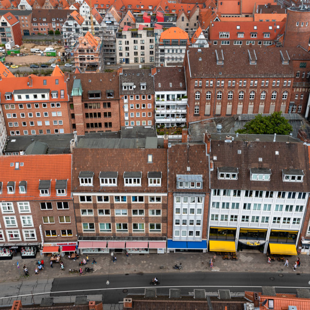 """Aerial view of historic centre of Lubeck, Germany"" stock image"
