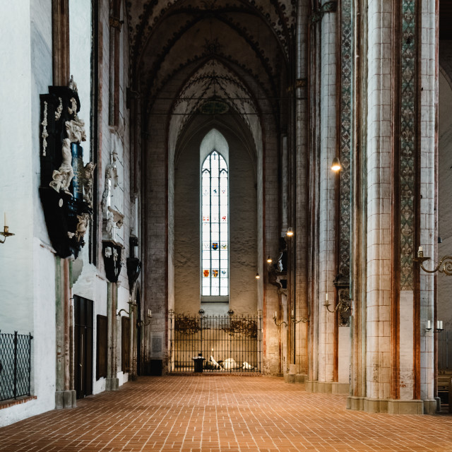"""Interior view of St. Mary Church in Lubeck"" stock image"