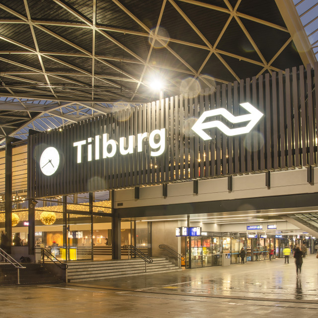 """Tilburg station on a rainy evening"" stock image"