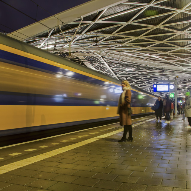 """""""Wainting for a train at Tilburg station"""" stock image"""