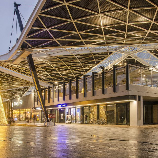 """""""Tilburg railway station in the blue hour"""" stock image"""