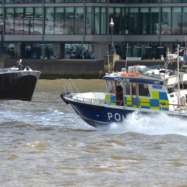 """Police boat on the thames"" stock image"