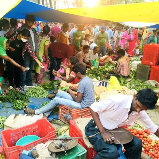 """Village open-air market in Kotihawa Village, Western Terai, Rupandehi Nepal"" stock image"