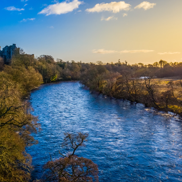 """""""Scottish River And Castle At Dawn"""" stock image"""