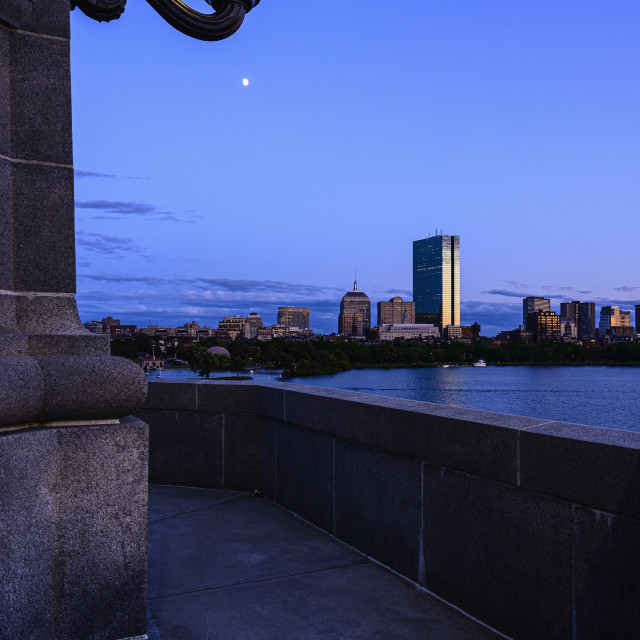 """""""VIEW FROM LONGFELLOW BRIDGE TO BOSTON AND CHARLES RIVER AT DUSK, MA, USA"""" stock image"""