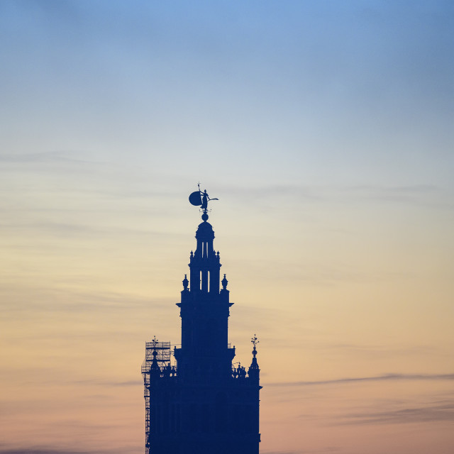"""""""VIEW ACROSS SEVILLE TO GIRALDA AT DAWN, SEVILLE, SPAIN"""" stock image"""