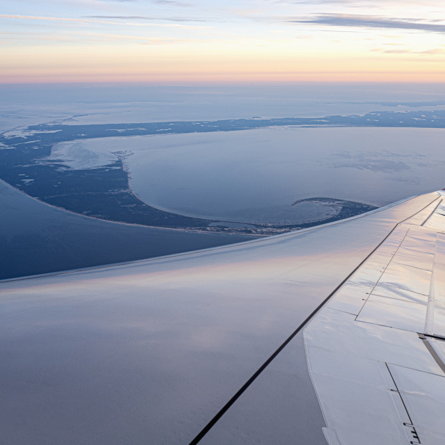 """""""AERIAL VIEW OVER LOWER CAPE COD, MA, USA"""" stock image"""