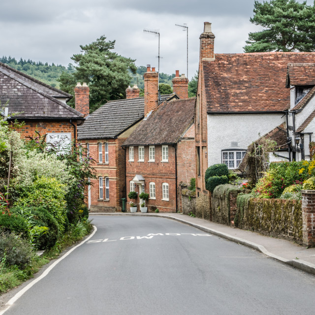 """""""Road going into Shere Village"""" stock image"""