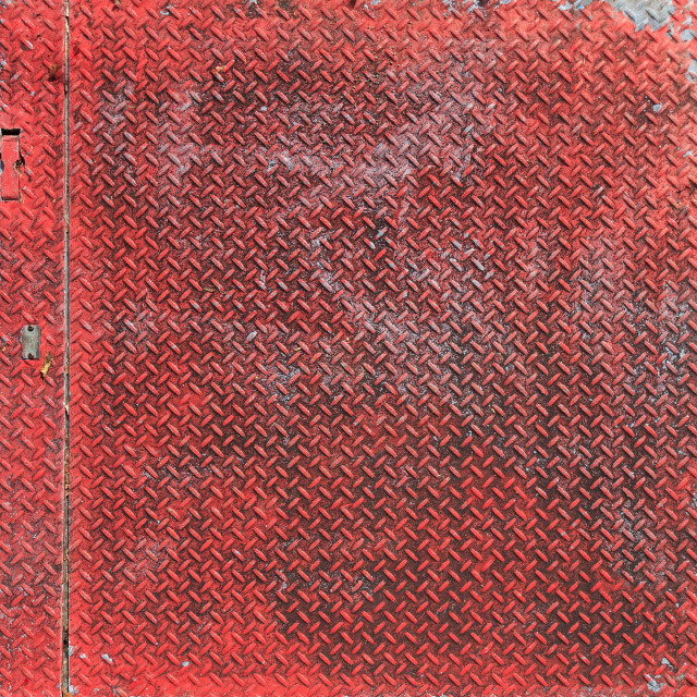 """Weathered Red Painted Textured Sheet Metal for Background"" stock image"