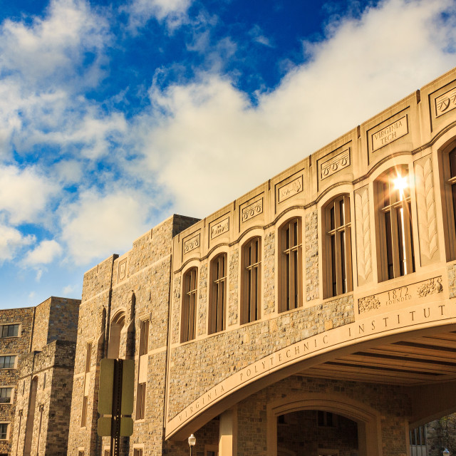 """Torgersen Bridge at Virginia Tech"" stock image"