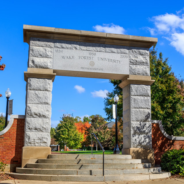 """Hearn Plaza at Wake Forest University"" stock image"