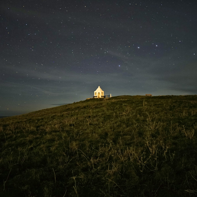 """Stars over Towan Headland."" stock image"