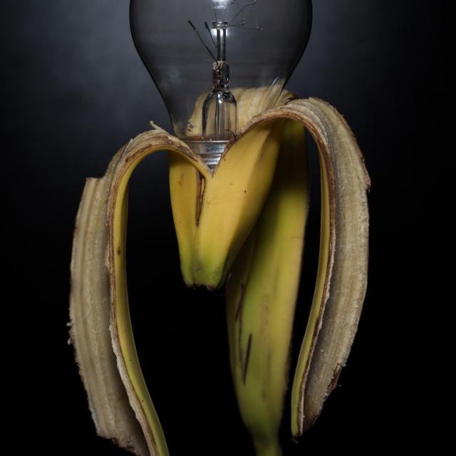"""lampanana, banana lamp bulb with dark background"" stock image"