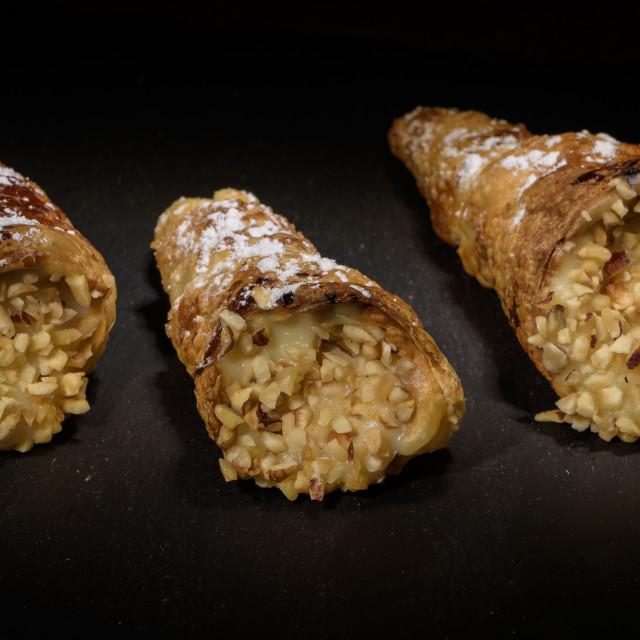 """""""Cannoncini stuffed with custard"""" stock image"""