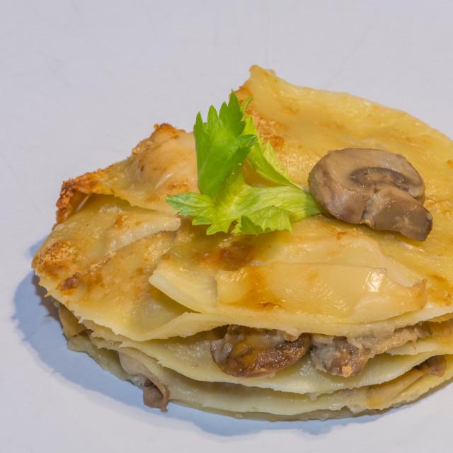 """Mushroom Lasagna"" stock image"