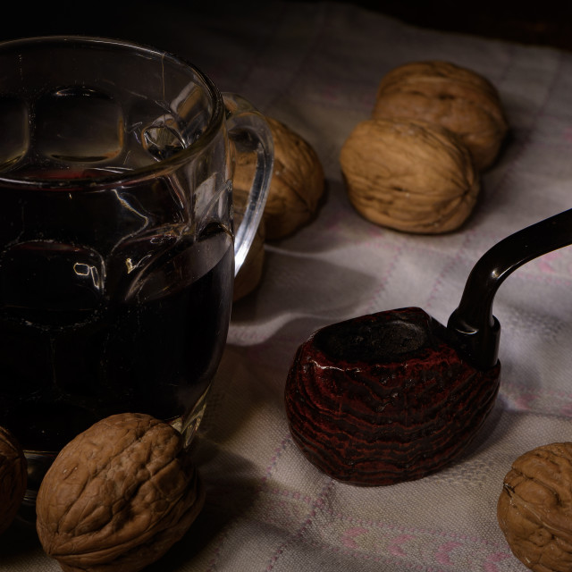 """""""Pipe, wine and walnuts"""" stock image"""