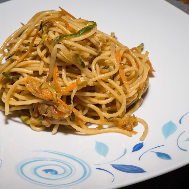 """Sautéed spaghetti with vegetables"" stock image"