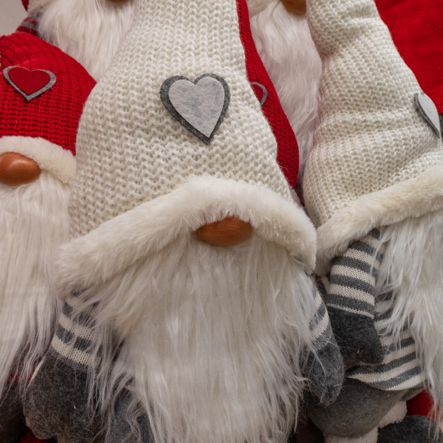 """""""Puppets of Christmas gnomes in a group"""" stock image"""