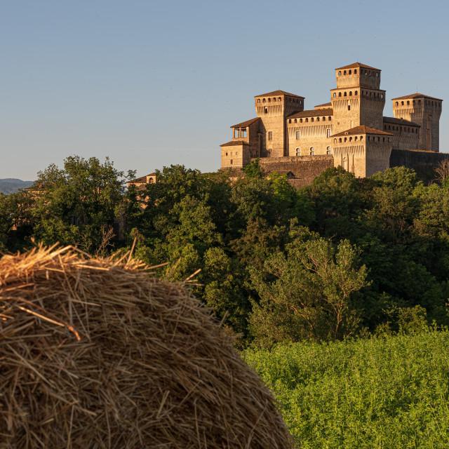 """Historic castle on the Italian hills"" stock image"