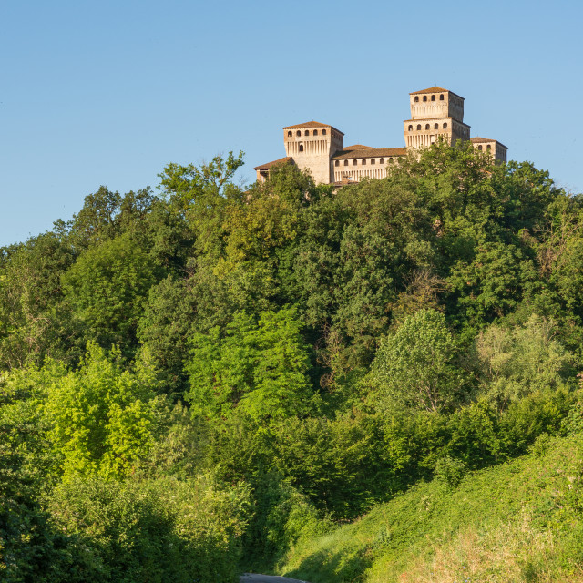 """""""A modern road leads to an ancient castle"""" stock image"""