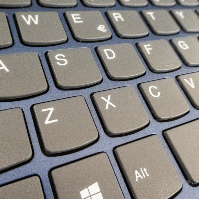 """""""Close-up detail of a QWERTY keyboard of a laptop PC"""" stock image"""