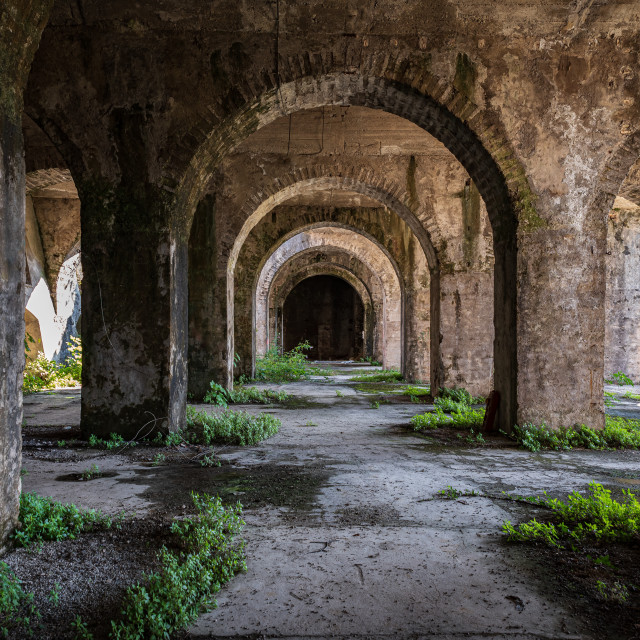 """""""Columns and arches of an old abandoned building"""" stock image"""