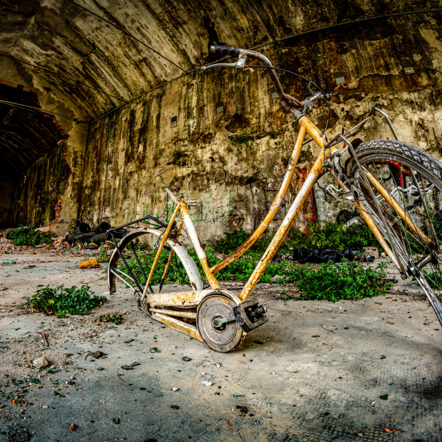 """""""old abandoned bicycle in an abandoned industrial complex"""" stock image"""