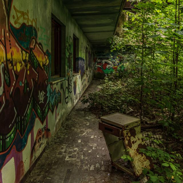 """Old bedside table abandoned outside an abandoned shelter"" stock image"