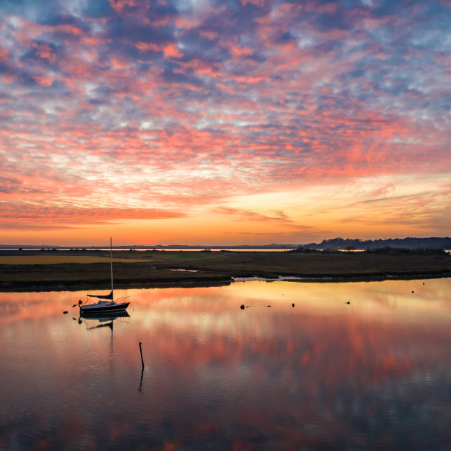 """Sunset at Alresford creek"" stock image"