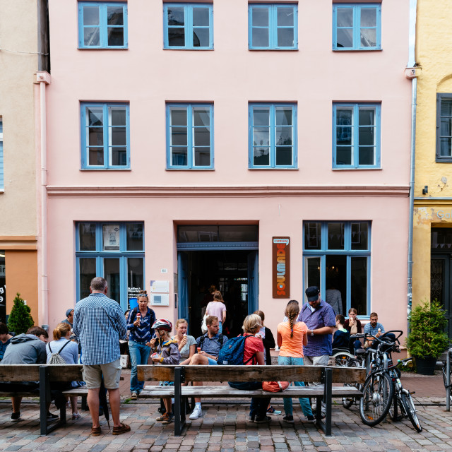 """treet scene with unidentified people enjoying in historic centre of Lubeck, Germany"" stock image"
