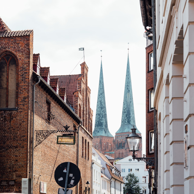 """Scenic view of historic centre with teh towers of Cathedral of Lubeck, Germany"" stock image"