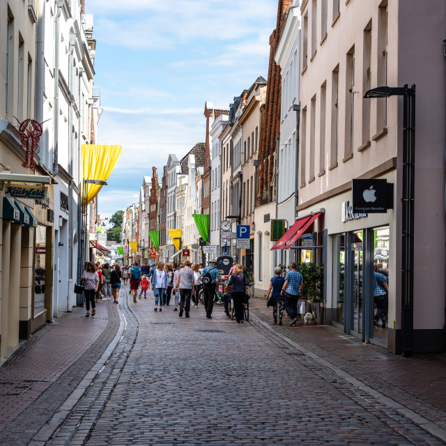 """Pedestrian street in historic centre of Lubeck, Germany"" stock image"