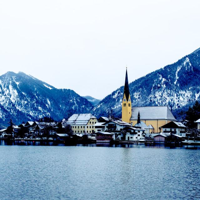 """Panorama with an idyllic village"" stock image"