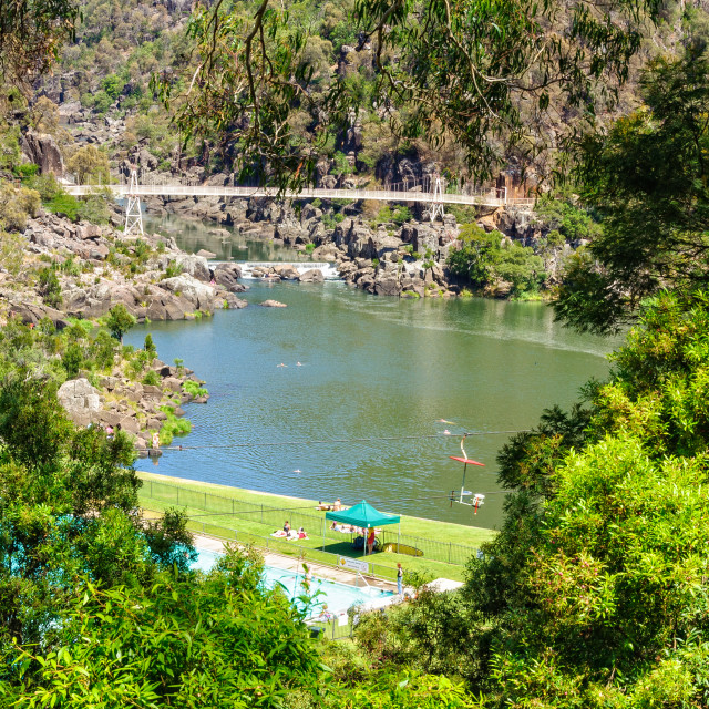 """First Basin in the Cataract Gorge Reserve - Launceston"" stock image"