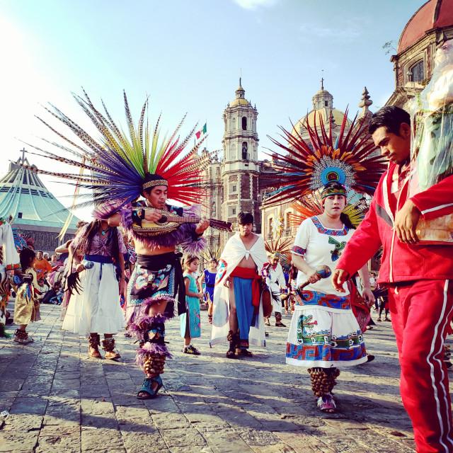 """""""Celebrations at Dia de la Virgen Guadalupe at Basilica de Guadalupe, Mexico City, Mexico"""" stock image"""