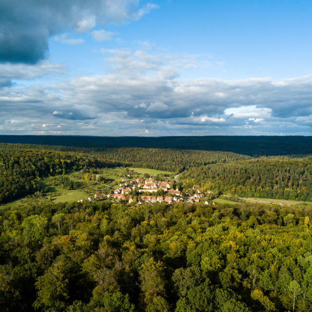 """Aerial view of the ancient Monastery Bebenhausen"" stock image"