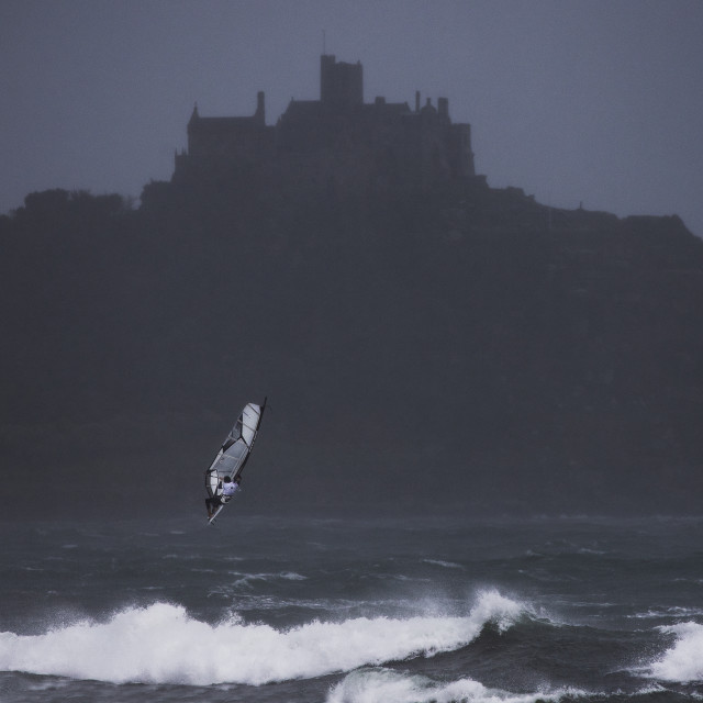 """Windsurfer taking to the air"" stock image"