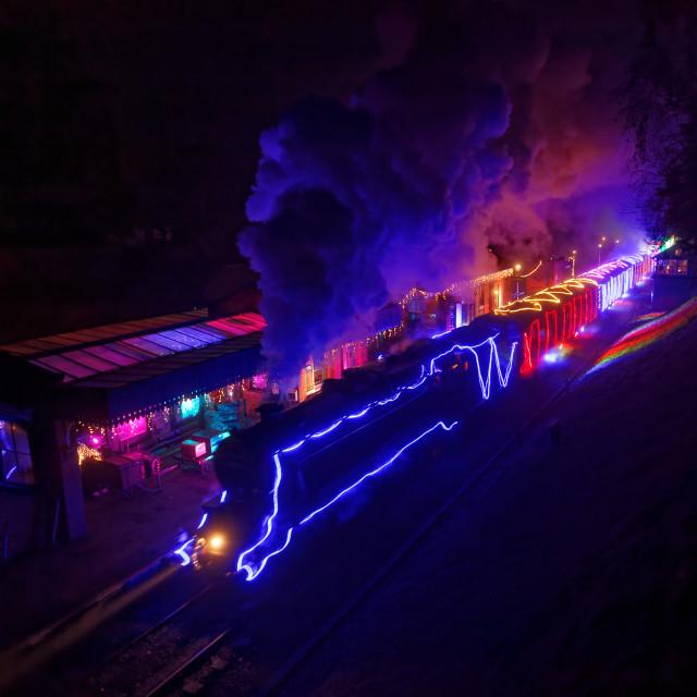 """Winter Wonderlights steam train"" stock image"