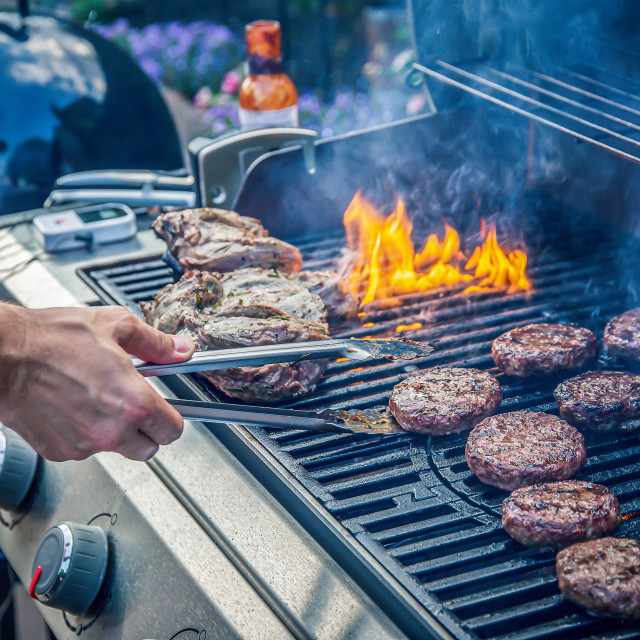 """Marinated lamb joint and beef burgers cooking on a barbecue"" stock image"