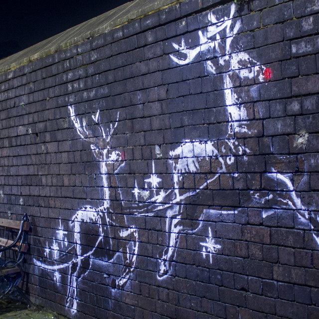 """Banksy Xmas Sleigh"" stock image"