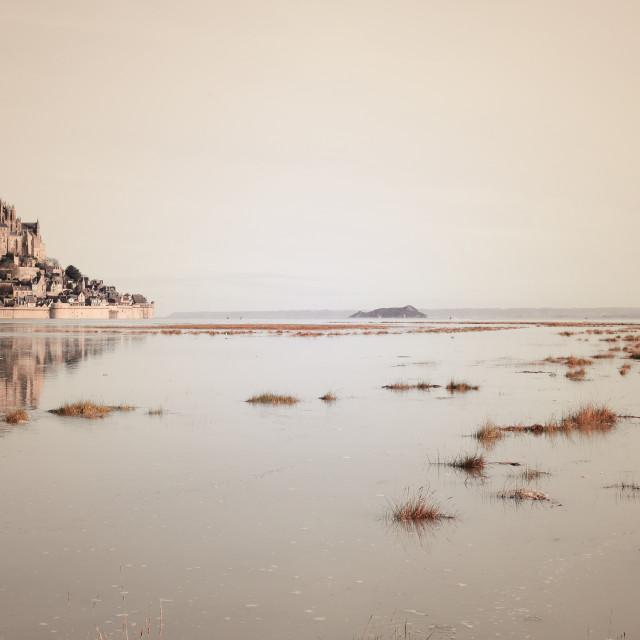 """Mont-Saint-Michel reflecting, sepia effect"" stock image"